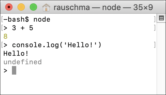 Figure 4: Starting and using the Node.js REPL (interactive command line).